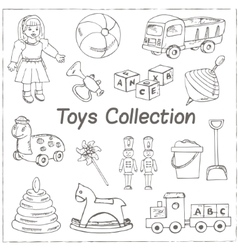 Collection of doodles toys vector image