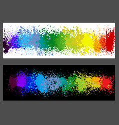Color paint splashes banner set vector