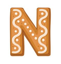 Cookies in shape letter n vector