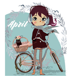 Cute cartoon girl with bike and kitten vector