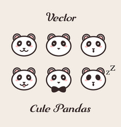 cute pandas with different emotions set vector image