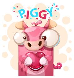 Cute pig character - cartoon vector