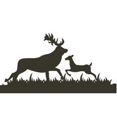 Dark silhouette two deer running across lawn vector