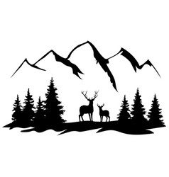 Deer and mountains vector