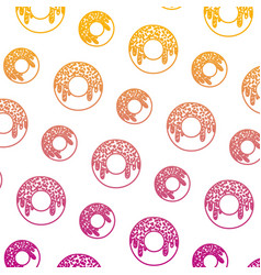 Degraded line delicious donut sweet pastry vector