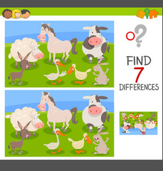 differences edu game with farm animals vector image