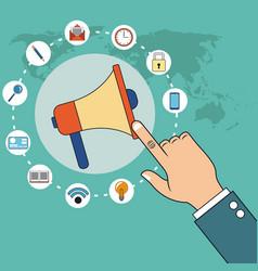 digital marketing hand with loudspeaker world vector image