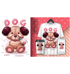 Dog puppy poster and merchandising vector