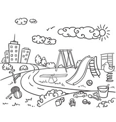doodle monochrome children playground concept vector image