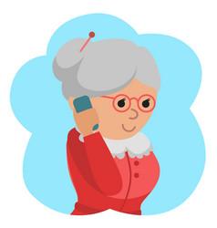 Elderly woman use phone vector