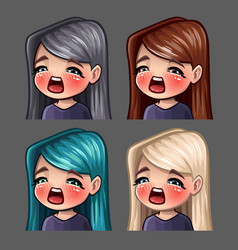 Emotion icons gasm female vector