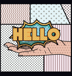 expression bubble with hello pop art style vector image