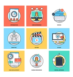 Flat Color Line Design Concepts Icons 12 vector image