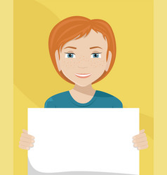 Flat of a white woman with a placard in her hands vector