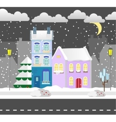 Flat style winter house Cottage vector image