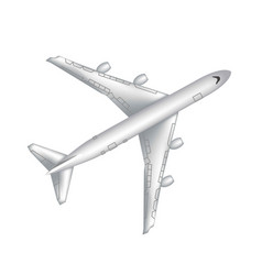 flying airplane jet aircraft airliner top view vector image