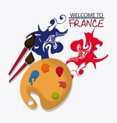 France design palette and brush icon vector image