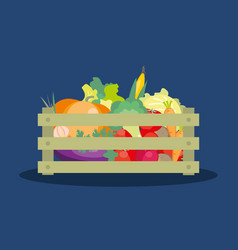 fresh vegetables in a wooden box vector image