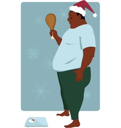 Gaining weight on Holiday season vector image vector image