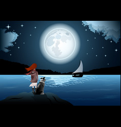 Girl with a dog and moon seascape vector