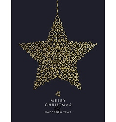 Gold Christmas and new year ornamental star shape vector image vector image