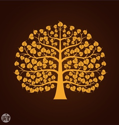 Golden Bodhi tree symbol vector image