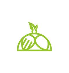 green restaurant plate healthy food logo designs vector image