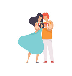 happy couple in love taking selfie photo on vector image