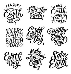 Happy earth day save planet text icons vector