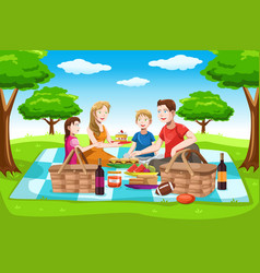 happy family having a picnic vector image
