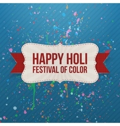 Happy Holi Festival of Color Banner with Ribbon vector