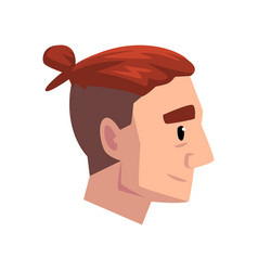 head of young man with modern haircut and tail vector image