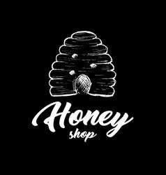 Honey bee chalkboard sketch logo design vector