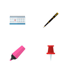 icon flat equipment set of highlighter pin vector image