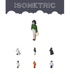 Isometric people set of male detective girl and vector