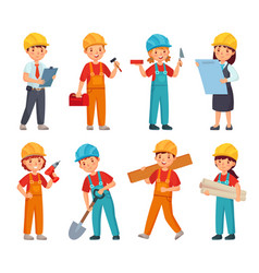 Kids builders little boys and girls in builder vector