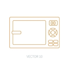 Line flat kitchenware icons - microwave vector image vector image
