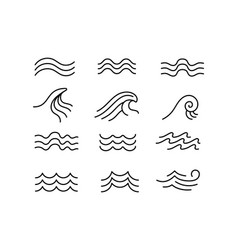 line sea wave ocean water wavy elements vector image