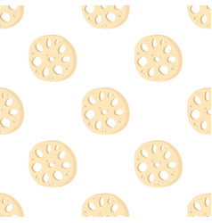 Lotus root slices in seamless pattern vector