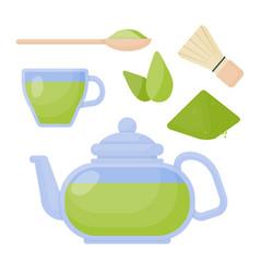 Matcha tea flat icons set vector