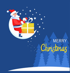 merry christmas card with santa claus sitting on vector image