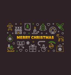 merry christmas linear horizontal vector image