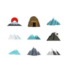 mountain icon set flat style vector image