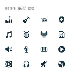 Music icons set collection of meloman octave vector