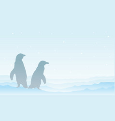 on snow penguin silhouette landscape vector image