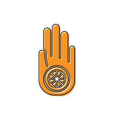 Orange symbol jainism or jain dharma icon vector