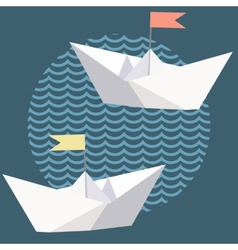 Origami paper ships with flags vector image