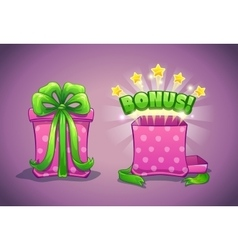 Pink gift box with bonus vector