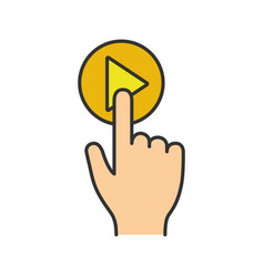 play button click color icon vector image