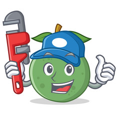 Plumber guava mascot cartoon style vector